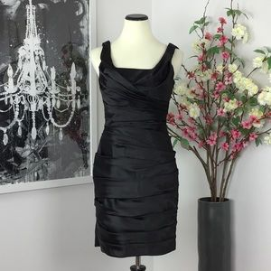 WHBM Ruched Front Drape Back Satin Dress
